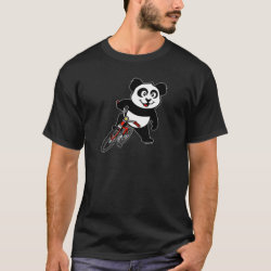 Men's Basic Dark T-Shirt with Cute Cycling Panda design