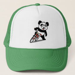 Trucker Hat with Cute Cycling Panda design
