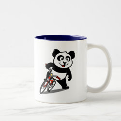 Two-Tone Mug with Cute Cycling Panda design
