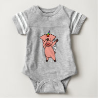 Cute Dabbing Unicorn Pig Baby Bodysuit