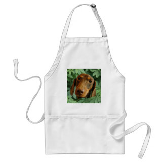 Cute Dachshund (Brown Short Haired) Green Leaves Adult Apron