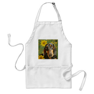 Cute Dachshund (Brown Short Haired) in Sunflowers Adult Apron
