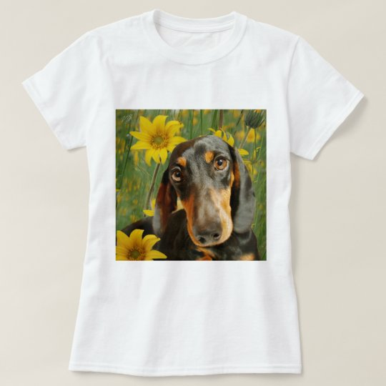 Cute Dachshund (Brown Short Haired) in Sunflowers T-Shirt