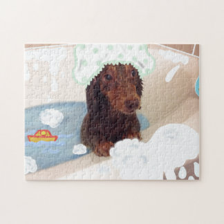 Cute Dachshund dog bath tub puzzle