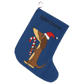 Cute Dachshund Dog in Santa hat Christmas Cartoon Large Christmas Stocking