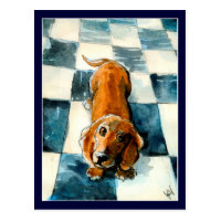 Cute Dachshund dog postcard