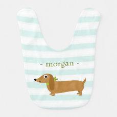 Cute Dachshund Dog with Mint Stripes Baby Bib