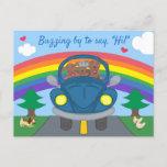 Cute Dachshund Dogs In Blue Bug Car Rainbow Hello Postcard