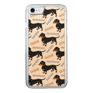 Cute Dachshund Doxie Dog Pattern Carved iPhone 7 Case
