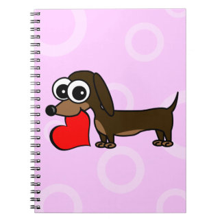 Cute Dachshund Has My Heart - Pink Circles Spiral Notebook