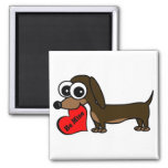 Cute Dachshund Holding Be Mine Heart 2 Inch Square Magnet