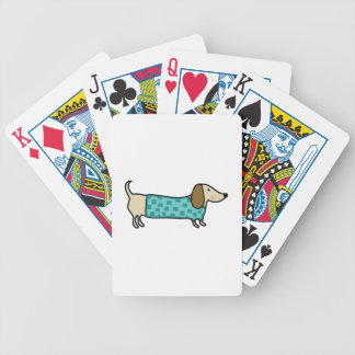 Cute dachshund in mint blue bicycle playing cards