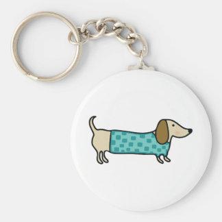 Cute dachshund in mint blue keychain