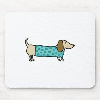 Cute dachshund in mint blue mouse pad