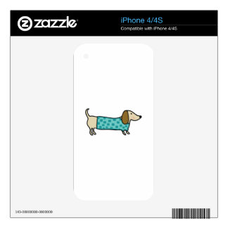 Cute dachshund in mint blue skin for the iPhone 4S