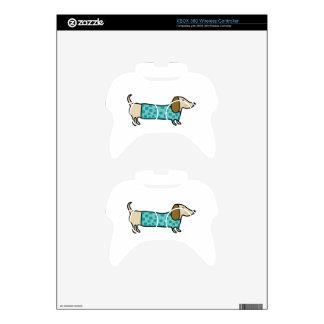 Cute dachshund in mint blue xbox 360 controller decal