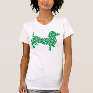 Cute Dachshund made up of Shamrocks T-Shirt
