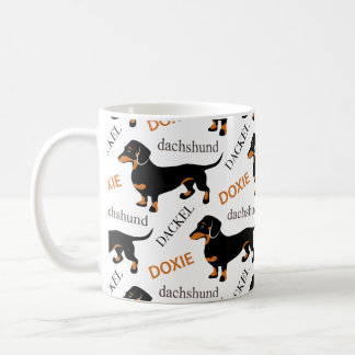 Cute Dachshund or Doxie Pattern Coffee Mug