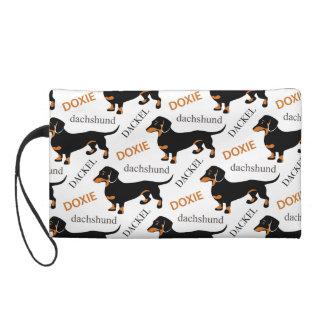 Cute Dachshund or Doxie Pattern Wristlet Purse