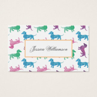Cute Dachshund Pastel Colored Dog Walker Business Card