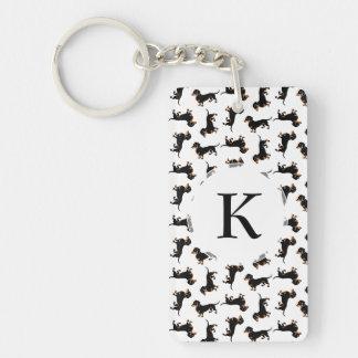 Cute Dachshund Pattern Double-Sided Rectangular Acrylic Keychain