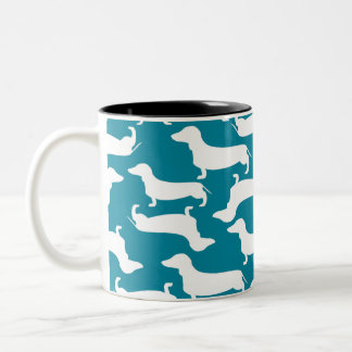 Cute Dachshund Pattern Perfect Gift for Doxie Love Two-Tone Coffee Mug