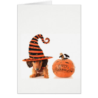 Cute Dachshund pup Halloween Card