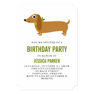 Cute Dachshund Puppy Dog Birthday Party Card