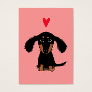 Cute Dachshund Puppy Valentine with Heart Business Card