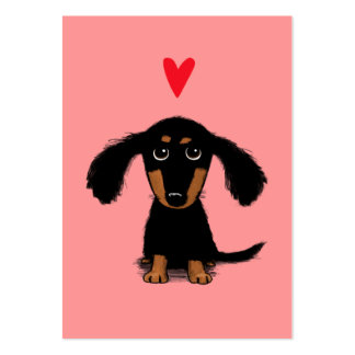 Cute Dachshund Puppy Valentine with Heart Large Business Card