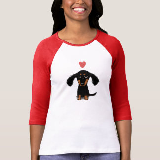 Cute Dachshund Puppy with Valentine Heart T-Shirt