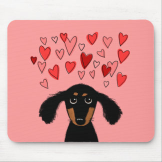 Cute Dachshund Puppy with Valentine Hearts Mouse Pad