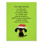 Cute Dachshund Santa Clause Christmas Party 4.25x5.5 Paper Invitation Card