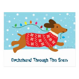 Cute Dachshund Through The Snow Christmas Holiday Postcard