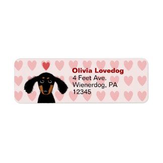 Cute Dachshund Valentine Love Return Address Label
