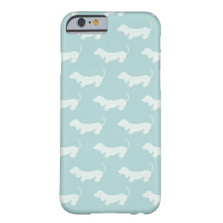 Cute Dachshund White Silhouettes on light blue Barely There iPhone 6 Case