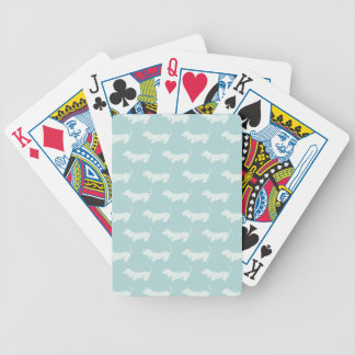 Cute Dachshund White Silhouettes on light blue Bicycle Playing Cards