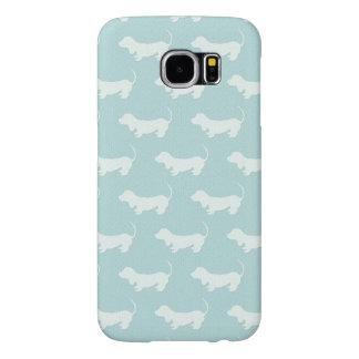 Cute Dachshund White Silhouettes on light blue. Samsung Galaxy S6 Case
