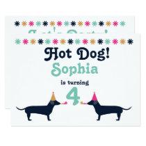 Cute Dachshund Wiener Dog Birthday Invitation. Invitation