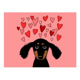 Cute Dachshund with Valentine Hearts Postcard