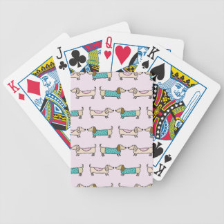 Cute dachshunds bicycle playing cards
