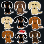 "Cute Dachshunds Doxie Color Variety Sticker Set<br><div class=""desc"">Fun Cartoon Dachshund Stickers. Red, Black, Cream and Chocolate Long and Shorthaired Wiener Dogs. Stick these adorable Doxie vinyl decals to your laptop, phone, notebook, water bottle, guitar case or even your car. These durable vinyl Dachsie stickers are waterproof and fade proof. Funny images for dog lovers, dog moms, dog...</div>"