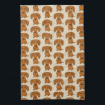 "Cute Dachshunds Pattern Hand Towel<br><div class=""desc"">Wiener Dog Lover&#39;s Kitchen Towel</div>"