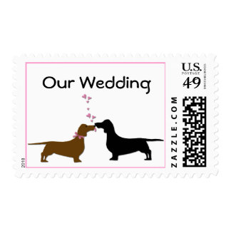 Cute Dachshunds Wedding Stamps