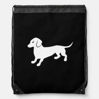 Cute Dachsund Drawing Drawstring Bags
