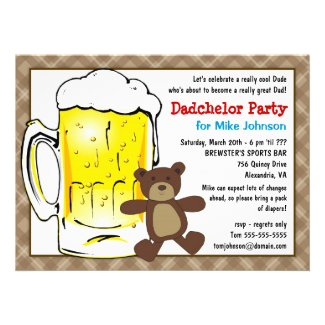 Cute Dadchelor Party Invitations - Diaper Kegger