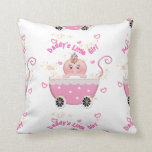 Cute Daddy's Little Girl Baby Buggy Throw Pillow