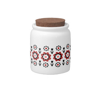Cute Dainty Little Red Spring Flowers Candy Jar