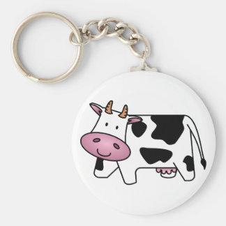 Cute Dairy Cow Basic Round Button Keychain