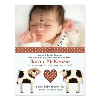 Cute Dairy Cows New Baby BOY with birth photo Card